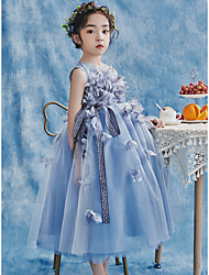 cheap -Princess Ankle Length Flower Girl Dresses Party Tulle Sleeveless Jewel Neck with Bow(s)