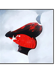 cheap -Oil Painting Handmade Hand Painted Wall Art Square Modern Abstract Red Lip Pop Art Home Decoration Decor Rolled Canvas No Frame Unstretched