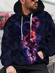 cheap -Men's Unisex Pullover Hoodie Sweatshirt Graphic Prints Apply colours to a drawing Print Hooded Daily Sports 3D Print Casual Designer Hoodies Sweatshirts  Long Sleeve Navy Blue