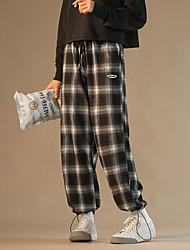 cheap -Women's Fashion Streetwear Comfort Chinos Casual Weekend Pants Plaid Checkered Full Length Pocket Leg Drawstring Elastic Drawstring Design Print Black / White