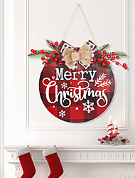 cheap -Christmas Wooden Listing Home Wall Christmas Ornaments Christmas Red Fruit Lattice House Number