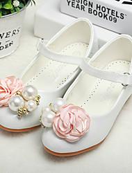cheap -Girls' Heels Heel PU Wedding Dress Shoes Little Kids(4-7ys) Big Kids(7years +) Wedding Party Party & Evening Rhinestone Flower White Fall Winter