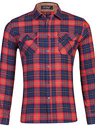 cheap -Men's Shirt Plaid Button-Down Print Long Sleeve Home Regular Fit Tops Casual Fashion Breathable Comfortable Navy Blue