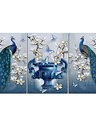 cheap -3 Panels Wall Art Canvas Prints Painting Artwork Picture Peacock Painting Home Decoration Decor Rolled Canvas No Frame Unframed Unstretched
