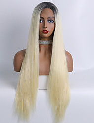 cheap -Synthetic Lace Wig kinky Straight Style 24 inch Yellow With Bangs 13x6 Closure Wig Women's Wig Bleached Blonde