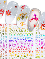 cheap -4 pcs Nail Sticker Christmas Skull Bone Snake Butterfly Maple Leaf Pattern Decals Manicures 3D Nail Decorations