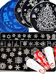 cheap -16 pcs Nail Art Stamping Plate Flower Animal Lace New Year Merry Christmas Design Nail Template Stamp Image Manicure Stenci