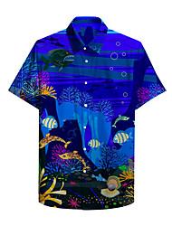 cheap -Men's Shirt 3D Print Underwater World 3D Print Short Sleeve Holiday Tops Beach Blue