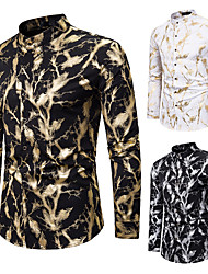 cheap -Men's Henley Shirt Shirt Hot Stamping Plants Palm Leaf Button-Down Bronzing Long Sleeve Party Regular Fit Tops Fashion Classic Rock Rendering Silver Gold White