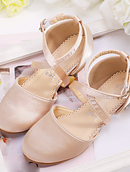 cheap -Girls' Heels Flower Girl Shoes Satin Wedding Dress Shoes Little Kids(4-7ys) Big Kids(7years +) Wedding Party Party & Evening Buckle Champagne Ivory Fall Summer