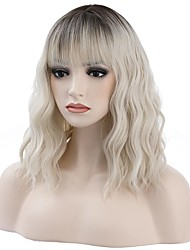 cheap -14 Inch (about 35.5 cm) Black Gold Gradient Wig Short Curly Hair Wig With Bangs Blond Wig Synthetic Wig Lady Girl Gradient Wig