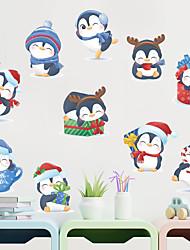 cheap -cartoon christmas gift q version little penguin glass window door wall decoration wall sticker self-adhesive