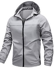 cheap -Men's Jacket Street Daily Going out Fall Regular Coat Zipper Stand Collar Regular Fit Thermal Warm Breathable Sporty Casual Jacket Long Sleeve Plain Pocket Blue Gray Black / Outdoor