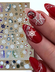 cheap -12 Pcs Holographic Snowflake Stickers Nail Decals Slider 3D Reflective Glitter Winter Elk Leaf Colorful Christmas Manicure Decor