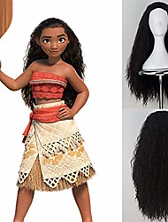 cheap -moana cosplay wigs for girls halloween party show long curly black synthetic wig full machine made no lace wave wig heat resistant