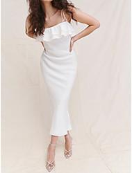 cheap -Sheath / Column Wedding Dresses Spaghetti Strap Ankle Length Chiffon Sleeveless Simple with Ruffles 2021