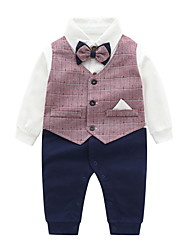 cheap -Baby Boys' Jumpsuits Active Basic Outdoor Cotton Blue Blushing Pink Line Print Plaid / Check Solid Color Print Long Sleeve / Fall / Spring