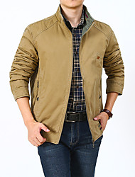 cheap -Men's Jacket Street Sport Daily Fall Winter Regular Coat Zipper Stand Collar Regular Fit Warm Breathable Casual Sports Jacket Long Sleeve Plain Full Zip Pocket Army Green Khaki / Outdoor