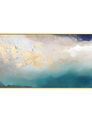 cheap -Oil Painting Handmade Hand Painted Wall Art Modern Blue Gold Foil Abstract Picture Home Decoration Decor Rolled Canvas No Frame Unstretched