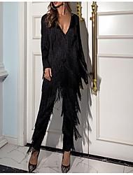 cheap -Jumpsuits Elegant Vintage Party Wear Formal Evening Dress V Neck Long Sleeve Ankle Length Cotton with Tassel 2021