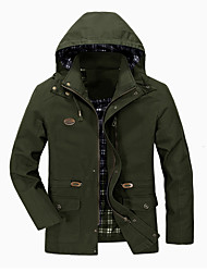 cheap -Men's Jacket Street Daily Outdoor Fall Spring Long Coat Zipper Stand Collar Regular Fit Breathable Casual Streetwear Jacket Long Sleeve Solid Color Pocket Army Green Khaki Black