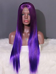 cheap -Synthetic Lace Wig kinky Straight Style 24 inch Purple Silky Straight 4x13 Closure Wig Women's Wig Deep Purple