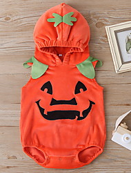 cheap -Baby Unisex Halloween Jumpsuits Basic Halloween Cotton Red Pumpkin Solid Color Print Sleeveless / Fall