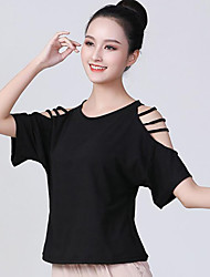 cheap -Ballroom Dance Activewear Top Hollow-out Solid Women's Training Performance Short Sleeve Polyester