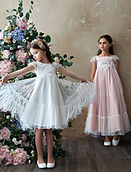 cheap -Princess Ankle Length Flower Girl Dresses Party Polyester Short Sleeve Jewel Neck with Lace