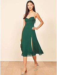 cheap -A-Line Empire Minimalist Homecoming Cocktail Party Dress Sweetheart Neckline Spaghetti Strap Sleeveless Tea Length Polyster with Split 2021