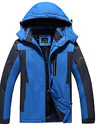 cheap -Men's Jacket Outdoor Jacket Sport Fall Winter Regular Coat Zipper Stand Collar Regular Fit Rain Waterproof Sporty Sports Jacket Long Sleeve Color Block Full Zip Blue Army Green Black