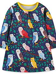 cheap -Kids Little Girls' Dress Cartoon Leaves Animal A Line Dress Daily Print Navy Blue Above Knee Long Sleeve Princess Cute Dresses Fall Spring Regular Fit 3-10 Years