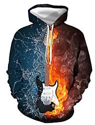 cheap -Men's Pullover Hoodie Sweatshirt Graphic Guitar Print Hooded Casual Daily 3D Print Casual Streetwear Hoodies Sweatshirts  Long Sleeve Blue