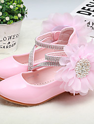 cheap -Girls' Heels Heel PU Wedding Dress Shoes Little Kids(4-7ys) Big Kids(7years +) Wedding Party Party & Evening Rhinestone Flower Pink White Fall Winter