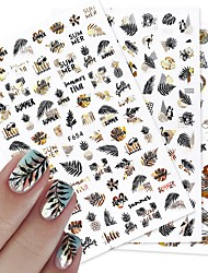 cheap -8 pcs 3D Black Leaf 3D Stickers Nail Decals Maple Design Laser Shinning Manicure Decoration Nail Art Slider Adhesive Tip