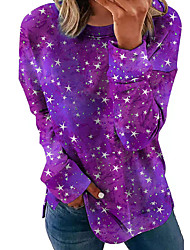 cheap -Women's Sweatshirt Stars Print Sports Going out Casual Hoodies Sweatshirts  Blue Purple Gray