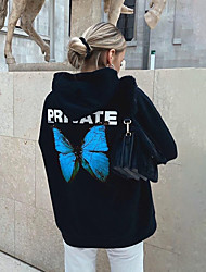 cheap -Women's Hoodie Pullover Butterfly Text Lip Print Daily Basic Casual Hoodies Sweatshirts  Blue Gold