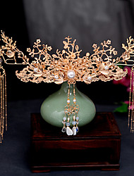 cheap -1 Piece Headdress Female Ancient Style Tassel Step by Step Gold Simple And Beautiful Hairpin Bride Show Wo Clothing Hair Comb And Hair Accessories Set