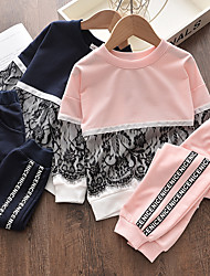 cheap -Kids Girls' Hoodie & Pants 2 Pieces Cotton Blend Long Sleeve Blushing Pink Navy Blue Letter Mesh Patchwork Outdoor Comfort Daily Regular 3-6 Years Fall Spring