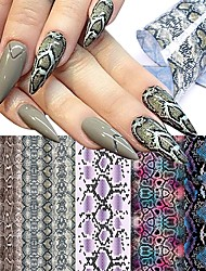 cheap -20 Pcs Foil Snakeskin Nail Stickers Starry Transfer Decals Sliders Sexy Snake Print Nail Art Decorations DIY Tips Adhesive Wraps