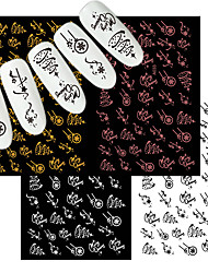 cheap -4 Pcs Merry Christmas Nail Art Decals Decoration Self Adhesive Nail Art Stickers Manicure Design White Snow Sticker for Nail Design