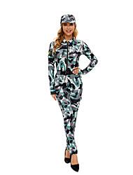cheap -Soldier / Warrior Cosplay Costume Adults' Women's Halloween Halloween Halloween Festival / Holiday Terylene Green Women's Easy Carnival Costumes Camo / Camouflage / Leotard / Onesie / Hat