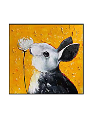 cheap -Oil Painting Handmade Hand Painted Wall Art Animal Rabbit Square Picture Home Decoration Decor Rolled Canvas No Frame Unstretched