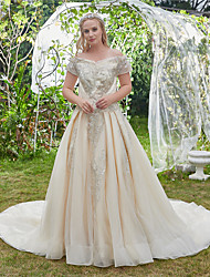 cheap -Princess Ball Gown Wedding Dresses Off Shoulder Cathedral Train Lace Tulle Cap Sleeve Formal Luxurious Sparkle & Shine Plus Size with Pleats Appliques 2021