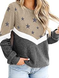 cheap -Women's Sweatshirt Pullover Color Block Stars Patchwork Print Crew Neck Casual Sports Active Streetwear Hoodies Sweatshirts  Blue Wine Khaki