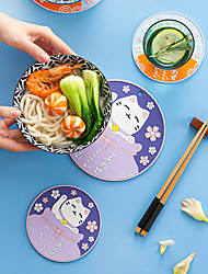 cheap -Japanese-style Lucky Cat Heat Pad Table Mat Anti-scalding Silicone Coaster Pot Mat Tea Coaster