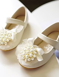 cheap -Girls' Flats Flower Girl Shoes Microfiber Wedding Casual / Daily Dress Shoes Toddler(9m-4ys) Little Kids(4-7ys) Wedding Party Party & Evening Pearl Flower Pink Ivory Fall Spring