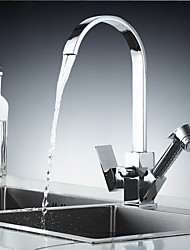 cheap -Kitchen Faucet - Single Handle Two Holes Electroplated Pull-Out / &Shy;Pull-Down / Standard Spout / Tall / &Shy;High Arc Centerset Contemporary Kitchen Taps