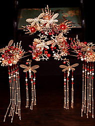 cheap -1 Piece Bride Headdress Wedding Costume Toast Hair Accessories Chinese Wedding Dragon And Phoenix Gown Show Kimono Accessories