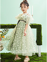 cheap -Princess Ankle Length Flower Girl Dresses Party Tulle Short Sleeve Jewel Neck with Bow(s)